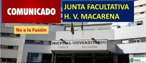 Comunicado de la Junta Facultativa del H. V. Macarena contra la fusión.