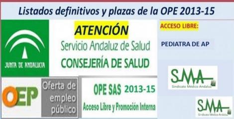 Publicadas las listas definitivas y plazas fijas de la OPE 2013-15 de Pediatra de Atención Primaria, acceso libre.