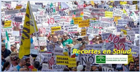 Miles de personas protestan por las calles de Sevilla por los «recortes» en Salud.