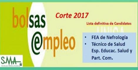 Bolsa. Publicación del listado definitivo de candidatos (corte 2017) de FEA de Nefrología y Técnico de Salud, Esp. Educac. Salud y Part. Com.