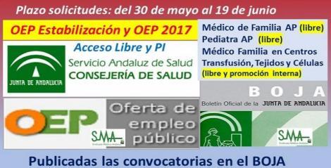 Publicadas en el Boja las convocatorias de la OEP de Estabilización, acceso libre para Médico/a de Familia y Pediatra de AP y de la OEP 2017 y Estabilización (p.i. y libre) para MF en C. Transfusión.