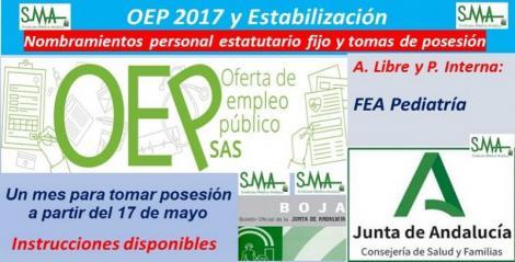 OEP 2017-Estabilización. Nombramientos de personal estatutario fijo y toma de posesión, de FEA de Pediatría, acceso libre y promoción interna.