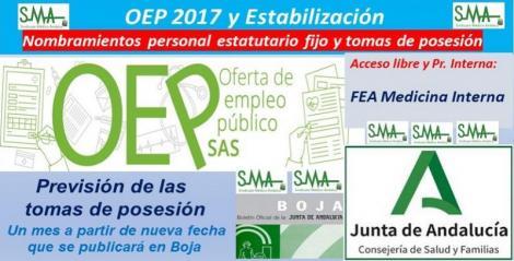 OEP 2017-Estabilización. Nombramientos de personal estatutario fijo y toma de posesión, de FEA de Medicina Interna, acceso libre y promoción interna.