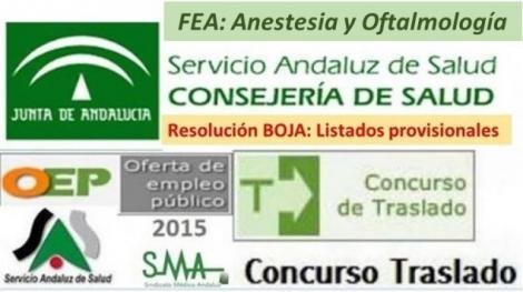 Publicado en el BOJA la resolución del Concurso de Traslado OPE 2013-15 con listados provisionales de FEA Anestesia y Oftalmología.