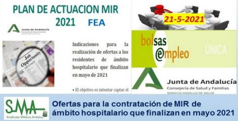 Plan de Actuación MIR 2021 para FEA. Ofertas a residentes de ámbito hospitalario que finalizan el MIR.
