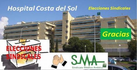 Elecciones sindicales en el Hospital Costa del Sol. Éxito del SMA, segundo sindicato más votado.