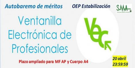 OEP Estabilización: Ampliación del plazo de presentación del Autobaremo de méritos (MF AP, Cuerpo A4 Farmacia y Veterinaria) a quien ha decidido presentarlo ahora.