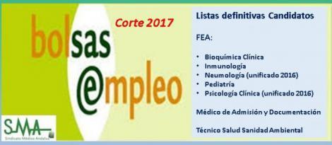 Bolsa. Publicación del listado definitivo de candidatos (corte 2017) de varias especialidades FEA, Médico de Admisión y Técnico Salud Sanidad Ambiental.