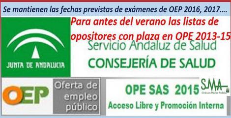 El SAS resolverá antes del verano la Oferta de Empleo Público 2013-2015. Y mantienen las fechas de la OEP 2016.