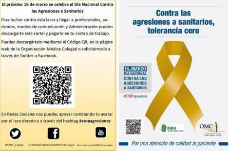 Mañana Día Nacional contra las agresiones a sanitarios: Un lazo dorado contra los más de 300 casos de agresiones a médicos en España.
