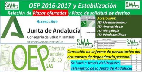 Publicadas en el BOJA correcciones de errores sobre la presentación electrónica de la documentación acreditativa de la dependencia personal de diferentes especialidades de FEA de la OEP 2017-Estabilización.
