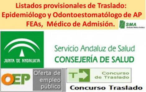 Concurso de Traslado: publicados en el BOJA los listados provisionales de admitidos para FEAs; Epidemiólogo y Odontoestomatólogo de AP y Médico de Admisión.
