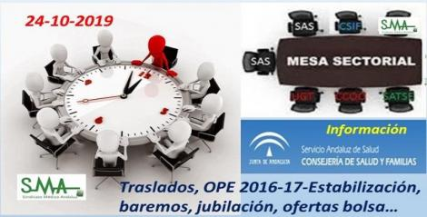 Mesa Sectorial 24-10-2019. Información: OEP, traslados, baremos, jubilación, ofertas bolsa...