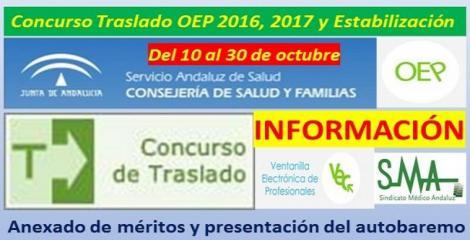 Concurso de Traslados: Presentación del autobaremo y anexado de méritos, desde hoy hasta el 30 de octubre.