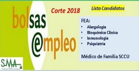Bolsa. Listas definitivas de candidatos (corte 2018) de Médico de Familia SCCU y FEAs de Alergología, Bioquímica Clínica, Inmunología y Psiquiatría.