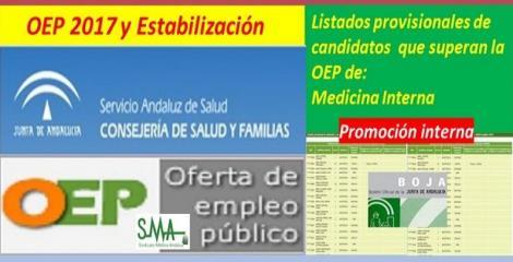 OEP 2017-Estabilización. Listado provisional de personas que superan el concurso-oposición (promoción interna) de Medicina Interna.