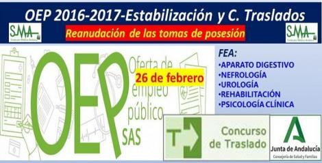 Reanudación de las tomas de posesión aplazadas de FEA de Ap. Digestivo, Nefrología, Urología, Rehabilitación y Psicología Clínica.