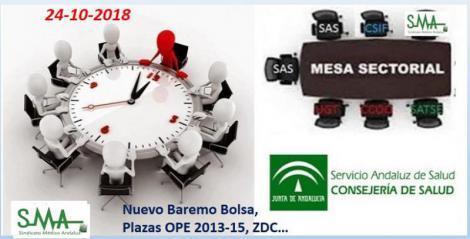 Informe de mesa sectorial. 24 de octubre de 2018. Nuevo baremo Bolsa, VEC, Plazas OPE 2013-15...