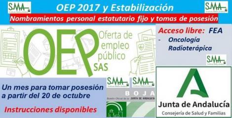 OEP 2017-Estabilización. Nombramientos de personal estatutario fijo y toma de posesión, de FEA Oncología Radioterápica, acceso libre.