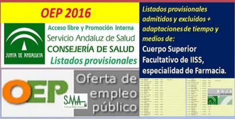 Publicados los listados provisionales de admitidos y excluidos en la OEP 2016 de Cuerpo Superior Facultativo de IISS, de la especialidad de Farmacia (libre y promoción interna).