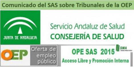 Comunicado del SAS sobre los Tribunales del Concurso Oposición 2015.