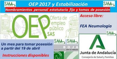 OEP 2017-Estabilización. Nombramientos de personal estatutario fijo y toma de posesión, de FEA de Neumología, acceso libre.