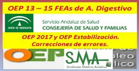OPE 2013-2015. BOJA. Nombramientos como personal estatutario fijo de FEA de Ap Digestivo, acceso libre.  También se publican varias correcciones de errores