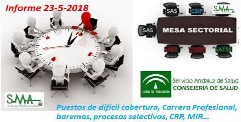 Mesa Sectorial 23-5-2018. Puestos de difícil cobertura, Carrera Profesional, baremos, procesos selectivos, CRP…