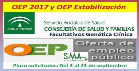 Publicadas en BOJA las convocatorias de OEP 2017 y estabilización, para  Facultativos de Genética Clínica (acceso libre y promoción interna).