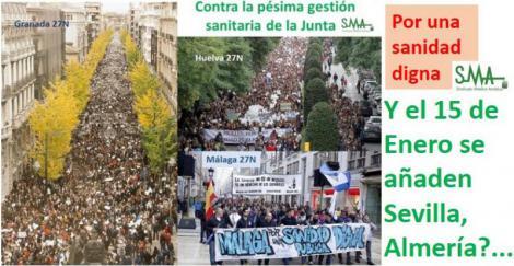 Sevilla se une a la marea blanca contra los recortes sanitarios de la Junta del próximo 15 de enero.