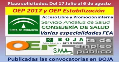 Publicadas en el Boja las convocatorias de OEP 2017 y OEP Estabilización (acceso libre) y la de OEP 2017 (promoción interna) de varias especialidades FEA.