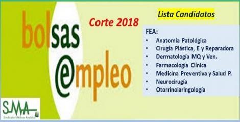Bolsa. Publicación del listado definitivo de candidatos (corte 2018) de diferentes especialidades de FEA.