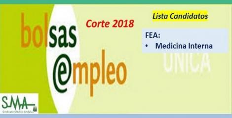 Bolsa. Publicación del listado definitivo de candidatos (corte 2018) de FEA de Medicina Interna.