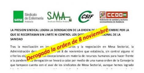 La presión sindical logra la derogación de la Orden de 8 de noviembre por la que se recortaban sin límite ni control los derechos del personal de la sanidad.
