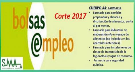 Bolsa. Publicación del listado definitivo de candidatos (corte 2017) del Cuerpo A4 Especialidad Farmacia.