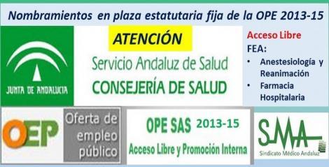 OPE 2013-2015. Publicados en el Boja los nombramientos como personal estatutario fijo de FEA de Anestesiología y de Farmacia Hospitalaria, acceso libre.