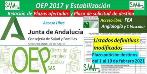 Publicada en el BOJA la relación de las plazas ofertadas, el plazo para solicitar destino y el listado definitivo modificado de la OEP 2017-Estabilización de FEA Angiología y Cia. Vascular, acceso libre.