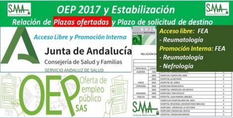 Publicada en el BOJA la relación de las plazas ofertadas y el plazo para solicitar destino de la OEP 2017-Estabilización de FEA Reumatología (a. libre y p. interna) y de FEA de Nefrología (p. interna).