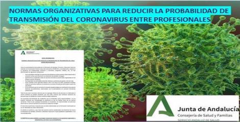 Normas organizativas para reducir la probabilidad de transmisión del virus entre los profesionales.