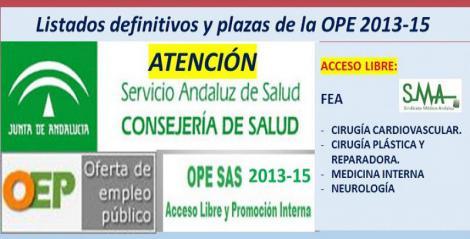 Publicadas las listas definitivas y plazas fijas de la OPE 2013-15 (acceso libre) de FEA de Cirugía Cardiovascular, Cirugía Plástica, Medicina Interna y Neurología.