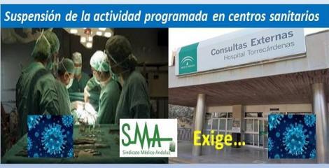 El SMA solicita el cese de la actividad programada en todos los centros sanitarios.