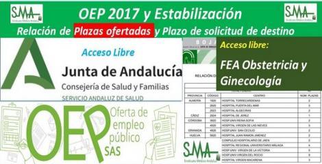 Publicada en el BOJA la relación de las plazas ofertadas y el plazo para solicitar destino de la OEP 2017-Estabilización de FEA Obstetricia y Ginecología, acceso libre.