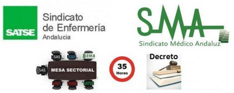 El Sindicato Médico Andaluz y Satse piden una mesa sectorial urgente para tratar el Decreto de las 35 horas.