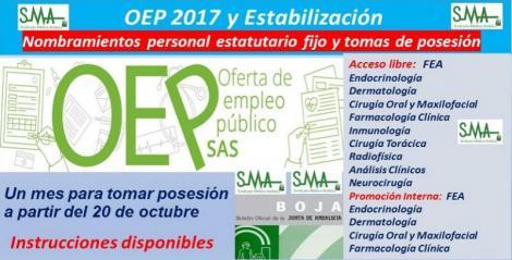 OEP 2017-Estabilización. Nombramientos de personal estatutario fijo y toma de posesión, acceso libre y promoción interna, de distintas especialidades de FEA.