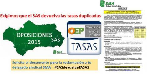 Que el SAS no se quede con tus tasas duplicadas. Reclama!! #SASdevuelveTASAS. Documento disponible a través de tu delegado sindical SMA.