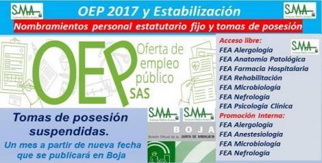OEP 2017-Estabilización. Nombramientos de personal estatutario fijo y toma de posesión, de varias especialidades de FEA, acceso libre y p. interna.