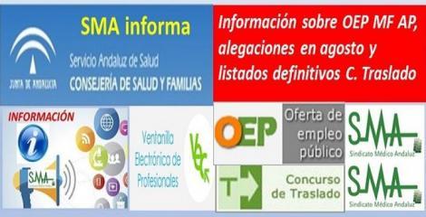 Información sobre la OEP de Estabilización de Médico Familia de AP y alegaciones durante el mes de agosto.