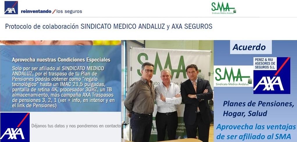 SMA firma un acuerdo de colaboración con AXA seguros a través de la Agencia Perez & Riu, que proporcionará a los afiliados importantes ventajas en Planes de Pensiones, Seguros de Hogar y Seguros de Salud